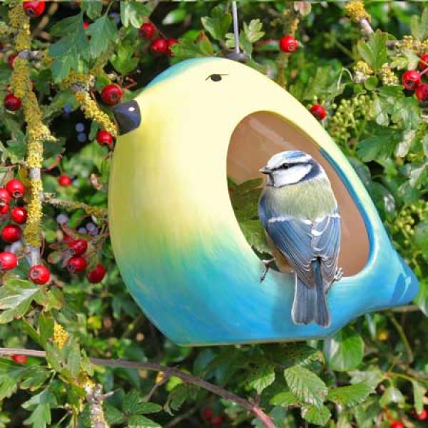 Ceramic Blue Tit feeder at British Bird Food