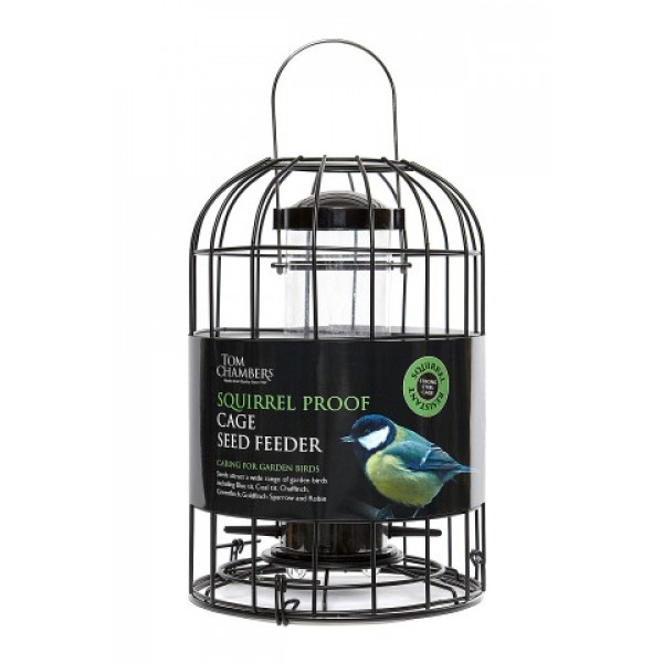 Squirrel proof cage seed feeder