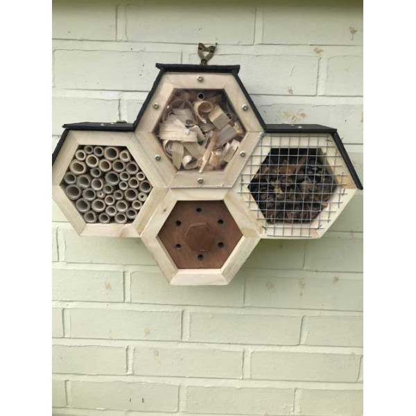 Hand made Quad Hex Bee and Insect Haven